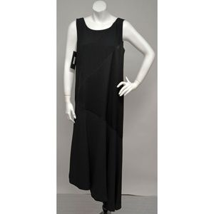 NWT DKNY Black Silky Pieced Asymmetric Hem Dress S